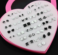 Wholesale Wholesale Earring 36 - Jewelry Wholesale Lot 36 Pairs Mixed Styles Black White Cartoon Plastic Stud Earrings for Girl Women Hypoallergenic Earrings Gift ME189