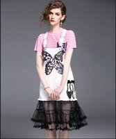 Wholesale Girl S Vogue Dress - Summer Women Fashion Two Piece Sets Ladies Vogue Pink Striped T Shirts Short-Sleeved Blouses + Girls Black White Mesh Splicing Short Skirts