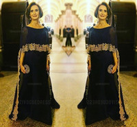 фотографии оптовых-2020 Роскошный темно-синий мать невесты платья Jewel шеи золотые кружева аппликациями шифон Половина рукава с Wrap партии вечерние платья