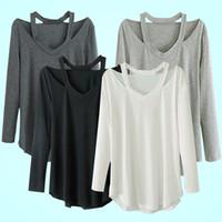 Wholesale Cotton Clothes Store - Wholesale- Women's V-neck Plus Size Tops Loose Long Sleeve T-Shirt Casual Spring Autumn Clothes Store 51