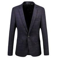 Wholesale Popular Blazers - Wholesale- 2017 New Arrival Dark Purple Plaid Business Casual Men Blazers Single-button Formal Popular Desgin Men Dress Suit Jackets
