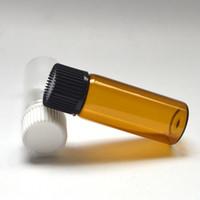 kleine 5ml parfums großhandel-Mundstück Reduzierer Kleine 5 ml Bernstein Parfüm Fläschchen ätherisches Öl Flasche Mini Klarglas Fläschchen Parfüm Probe Tubes300pcs Kleines Parfüm