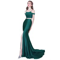 Wholesale Thin Strap Evening Gown - Hot Selling Worldwide Split Evening Dress Two Piece Attractive Thin Straps Elegant Ladies Formal Long Gown 2017