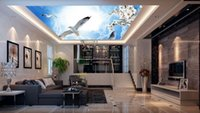 Wholesale Pigeon Sound - 3d ceiling custom 3d wall mural wallpaper Dream Clouds Orchids Pigeons ceiling photo wallpapers for living room 3d ceiling wallpaper