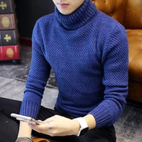 Wholesale Turtleneck Zipper Male - Wholesale- 2016 Winter Mens Turtleneck Sweaters Pullovers Clothing Warm Thick Men Cotton Knitted Sweater Male Sweaters Pull Homme XXXL 50