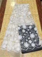 Wholesale White Lace Flower Appliques Wholesale - White New Design nigerian lace fabric high quality flower applique embroidery tulle lace 3D lace fabric for african women WEDDING