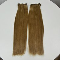 Wholesale Double drawn human hair extensions Unprocessed Mongolian virgin remy hair weaves no tangle no shedding thick ends