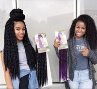 Wholesale 2x 12 - Hot Sale 12 roots pack Havana Mambo Twist Crotchet Braids Expression 12-24inch 2X Crochet Braid Hair Senegalese Twist Free Shipping