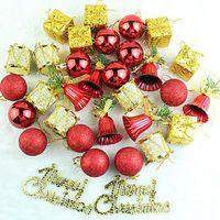 Wholesale Christmas Ball Ornament Sets - Christmas Tree Pendant Home Party Decor Plastic 32pcs set Christmas Ornaments Balls Drums