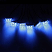 Wholesale Led Red Blinking - 18LED Car Strobe Light 6x3 LED Fire Flashing Light Blinking LED Strobe Lamps Emergency Car Light Blue Red Yellow White White+yellow Red+blue