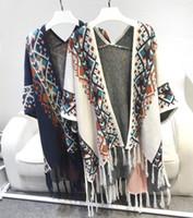 Wholesale Bat Style - 2017 Spring Europe Retro National Style Geometry Bat Sleeves Tassel Knitted Cape Cardigan Sweater Shawl Coat Women Fashion