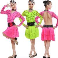Wholesale Ballroom Dancing Accessories - Red Green Elegant Sexy Unequal Women Girls Sequin Fringe Tassel Skirt Ladies Latin Tango Ballroom Salsa Dance Dress(including accessories)