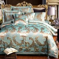 Wholesale bedding sets silk satin purple online - Luxury Satin Jacquard Bedding sets Bedclothes Queen King Size Bed set Silk Cotton Bed sheet Fit sheet Duvet cover Bed linen set
