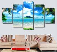 ingrosso vernice di mare blu del cielo-Senza cornice 5 pezzi Blue Sea e Sky Canvas Art Picture Modern Home Decorazione della parete HD stampato Seascape Pittura a olio di alberi di cocco