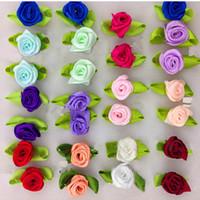 band rosen applikationen großhandel-DIY Satinband Rosen Blume Appliques Scrapbooking Nähen Handgemachte Kleine Hochzeit Craft Decor 100 Stücke