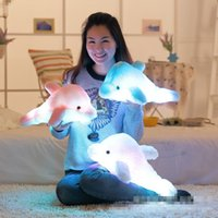 Atacado- 45cm Luminous Plush Dolphin Dolls Kawaii Luminous Pillow Toys Colorful Dolphin Led Light Brinquedos Kids Children Christmas Gift