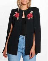 Wholesale long white cardigans shawls - 2017 Autumn Women Fashion Flower Embroidery Long Sleeve Single Button Open Stitch Shawl Cloak Feminino Mujer Coat Tops