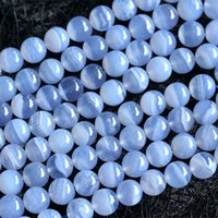 "Wholesale Natural Blue Chalcedony Bracelet - Wholesale- Wholesale High Quality AAA Natural Genuine Blue Chalcedony Round Loose Beads 4-16mm DIY Jewelry Necklaces or Bracelets 15"" 03673"