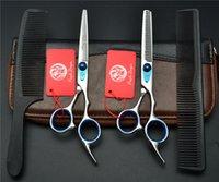 saç makası takımları toptan satış-4 Adet Suit 6 '' Mor Ejderha TOPPEST Profesyonel İnsan Saç Makas Kuaförlük Makas Kesme Makası + İnceltme Makas + Combs Z1003