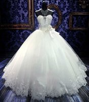 Wholesale Custom Stocks - Stock Sale Cheap Sale Sweetheart Lace A-Line Wedding Dresses Beading Bow Waist Bridal Gowns Lace Up Back Custom Online Princess Marriage