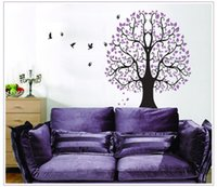Wholesale Classic Design Pvc - Flower tree Classic Purple wall decals removable decorative birds pvc wall sticker DIY label design art house decoration
