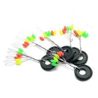 Wholesale bobber stopper - Wholesale- 100pc Oval Shape 6 In 1 Rubber Fishing Float Stopper Bobber