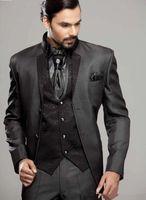 Wholesale Italian Wool Men Suit - New Arrival Handsome Italian Charcoal mens suits Jacket+Pants+Vest+Tie custom made best men suits wedding party suits