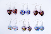Wholesale glass flower chandeliers - 24 Pairs Heart Flower Lampwork Murano Glass Silver Plated Earring fashion earrings mix colors Fashion Jewelry Woman Gift Party