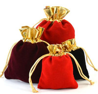 Wholesale Jute For Paper Bag - Velvet Pouches Fit Gift Bags Gold Color Drawstring Pouches For Jewelry Storage High Quality Pouches 7x9cm
