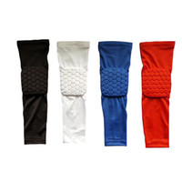 Wholesale Armguard Basketball - Wholesale- Basketball Elbow Pads Supports Compression Arm Sleeve Protector Anti-collision Honeycomb Armguard Sport Safety Arm Sleeves