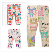 Wholesale Cartoon Girls Tights - New Leggings for baby girl Retro Bunny Cartoon Full Printed Elastic Tights Cotton Girls clothing 2017 Autumn Spring 18months-6T