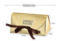 Wholesale Gold Box Wedding - Wedding candy box European creative card ferrero 2 grain of candy box 50pcs lot,gold color