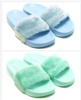 Wholesale Mint Tie - New Released Macaron Rihanna Leadcat Fenty Mint Green Slipper Faux Fur Burgundy Slide Slippers Ladies Indoor Purple Sky Blue Sandals
