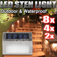 8X solaire LED Deck Garden Escalier Step Lights Wall inox Wall Pathway 8 Pack LED Solar Powered Stainless Steel Step Light