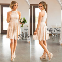 Wholesale Bridesmaid Dresses Knee Length Keyhole - 2017 Nude Blush Keyhole Neck A Line Full Lace Country Bridesmaid Dresses Knee Length Crystal Homecoming Gowns Beach Cheap Party Dress