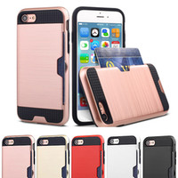 Wholesale Iphone Hard Impact Case - New Heavy Duty Impact Shockproof Armor Rugged Case for coque iPhone 6 6S plus 7 8plus Hidden Card Holder Case Silicone Hard Covers