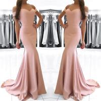 vestido de trompeta de satén al por mayor-2018 Fuera del hombro Sweetheart Blush Pink Vestidos de sirena Evening Wear Satin Prom Party Gowns por encargo Trompeta Celebrity Gown BA6926