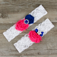 Wholesale Blue Garter Plus Size - Wedding Garter Dark Blue Bridal Belt For Women Plus Size Sexy White lace With Fushia Flower Rinestone Toss Crystal Double Leg Garter Straps
