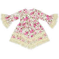 Wholesale Short Sleeve Tassel Dress - Hug Me Girls Dress Christmas Kids Clothing 2017 New Spring Lace tutu Dress Fashion Long Sleeve Princess Tassel Dress AA-1144