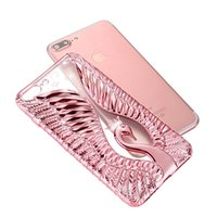 Wholesale Acessories Silver - Fashion Diamond Crown Swan Electroplate Cover Case Relief&Emboss Soft Cell Phone Acessories Soft TPU For iPhone 7 6 Plus 5