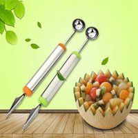 Wholesale Ball Cutter - Fruit Carving Cutter Home Kitchen Bar Tools Watermelon Cantaloupe Melon Dig Ball Scoop Stainless Steel Spoon OOA2050