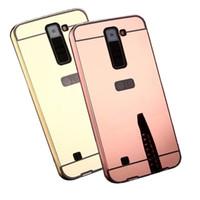 Wholesale Aluminium Electroplating - Untuk LG K7 K8 electroplating Cermin permukaan Kasus Dengan Kasus Logam aluminium Bingkai Ponsel LG K7 K8 penutup