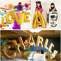 Wholesale Foil Banner - 40 inches Silver Gold Letter Foil Balloons Birthday Party Banner Helium Letter Balloon Wedding Decoration Ballons Holiday Supplies Decorativ