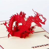 Wholesale Diy Greeting Cards - DIY Cubic Dragon Foldable 3D Pop UP Card Handmade Paper Art Carving Greeting Gift Cards free shipping