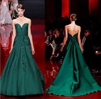 Elie Saab Abendkleid Hochwertige Smaragdgrün Schatz Applique Lange Frauen tragen Prom Party Dress Formal Event Gown