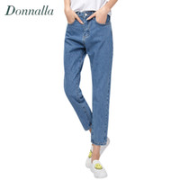 Wholesale High Waist Korean Button Jeans - Wholesale- Women Pants Autumn Winter New Plus Size Korean Women Fashion High Waist Denim Pencil Pants Bottoming Pants Women Jeans