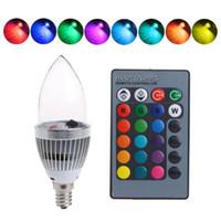 Wholesale E14 3w Led Clear Candle - E14 E12 E27 3W RGB LED Light Bulb 16 Color Changing Candle Light AC85-265V Remote Control Candle Bulb