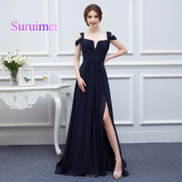 Wholesale Double Color Gowns - Dress Vintage Black Color Long Prom Dresses Double Straps Chiffon Side Split Gowns Evening Zipper Design Back Fast Shipping