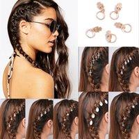 Wholesale Star Punk Rings - 5 10Pcs Punk Women Hip-Hop Braid Hand Cross Shell Star Ring Hair Clips Accessory