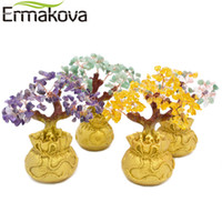 Wholesale Feng Shui Tree - ERMAKOVA 7 Inch Tall Mini Crystal Money Tree Bonsai Style Wealth Luck Feng Shui Bring Wealth Home Decor Birthday Gift
